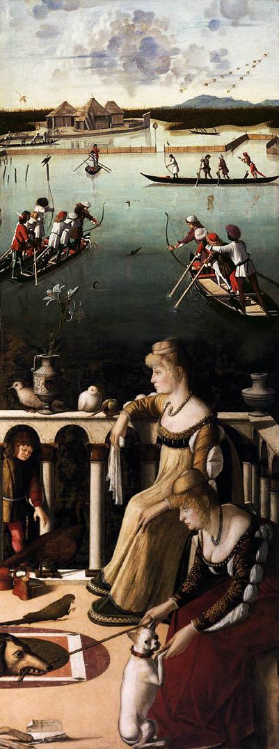 Due dame veneziane e caccia in laguna