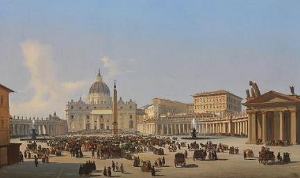Piazza San Pietro - Ippolito Caffi